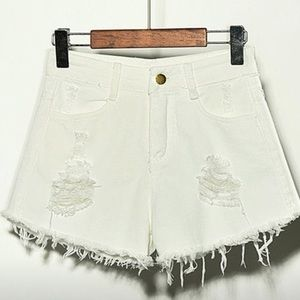 Pants - High waist distressed shorts with fringe NWOT
